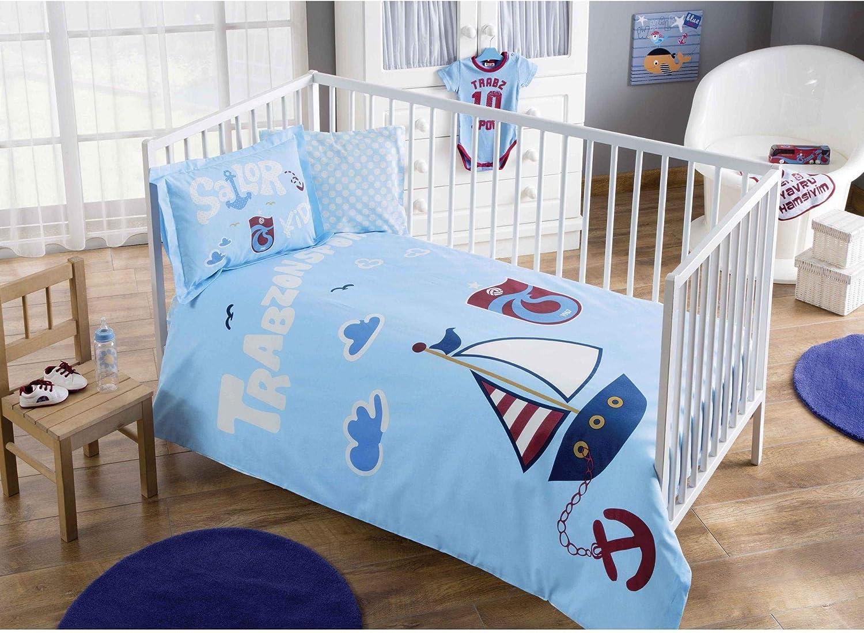 Parure de lit de Trabzonspor Sailor Produit sous licence officielle 100/% coton bio doux et Sain Lit pour b/éb/é Housse de couette Lot de 4/pi/èces