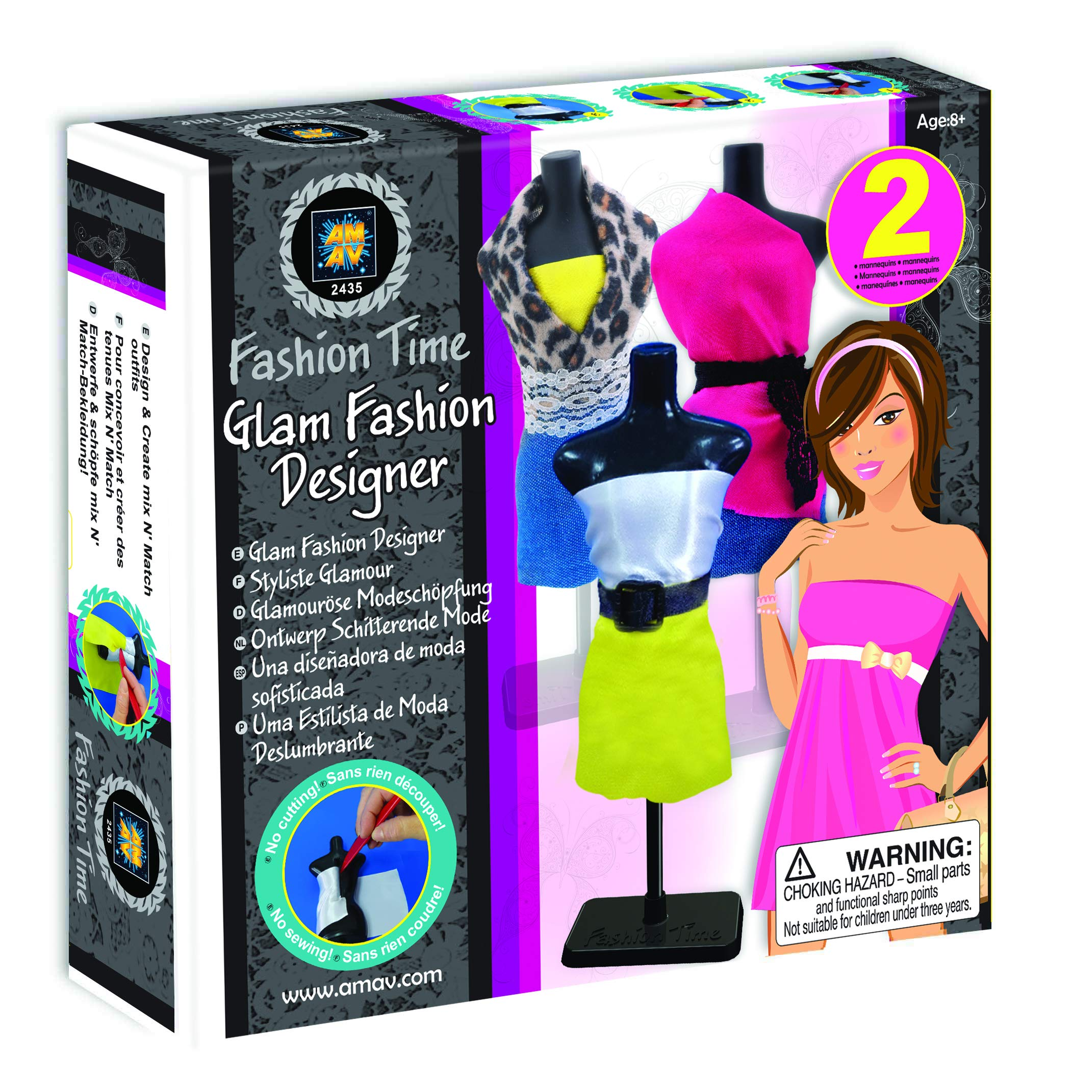 Mav Toys Fashion Time Glam Fashion Designer -DIY, Create Mix & Match Outfits & Fashion Creations - Easy to Use, No Cutting or Sewing - Sparks Creativity & Style for Fashion Lovers
