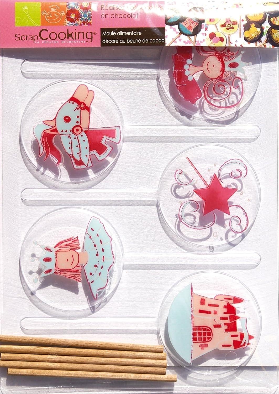 ScrapCooking 9498 Princesse Moule pour Sucette PVC Multicolore 21,5 x 16 x 1 cm Lot de 5