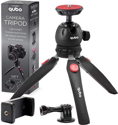 حامل كاميرا ثلاثي القوائم صغير من كيوبو - حامل ثلاثي ثلاثي ثلاثي القوائم للهاتف المحمول GoPro iPhone / الهواتف الخلوية كاميرا ويب كام بروجكتور صغير DSLR - حامل كاميرا على سطح المكتب باليد