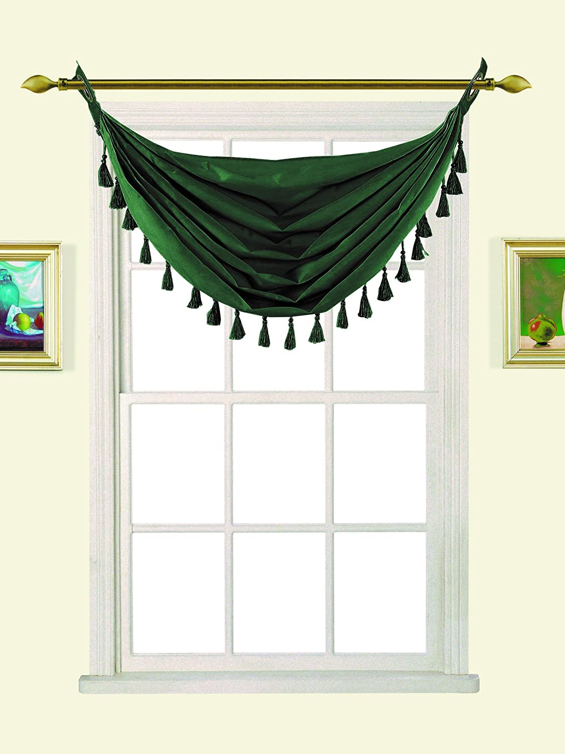 GorgeousHomeLinen (M12) 1 Straight Small Silk Bronze Grommets Elegant Waterfall Valance with Decorative Tassels, 50