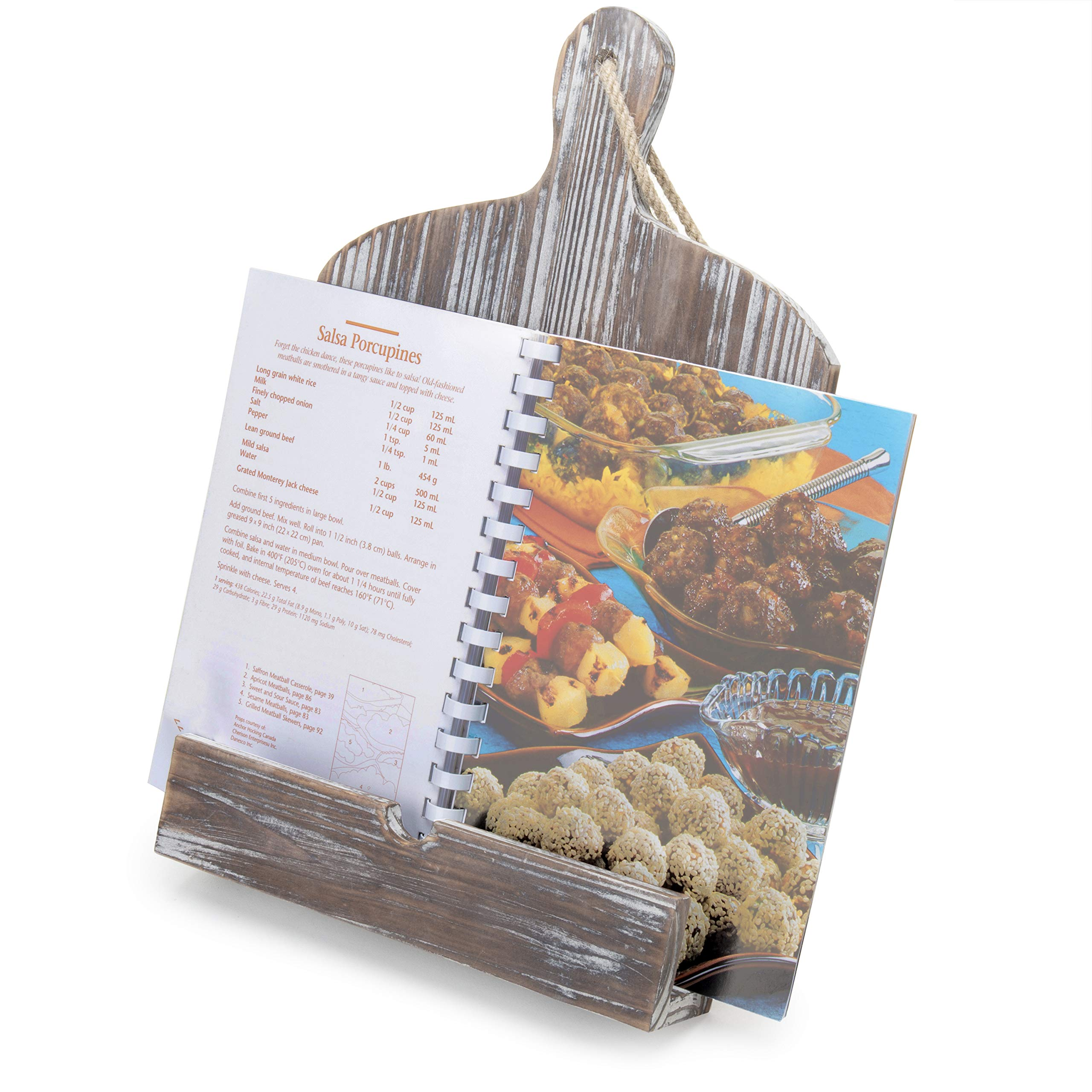 MyGift Rustic Farmhouse Torched Wood Cookbook iPad Holder with Kickstand by MyGift