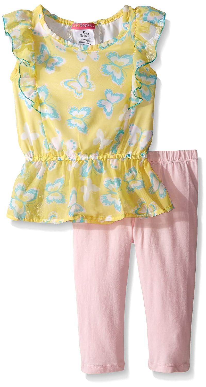 Kidtopia Girls Butterfly Print Peplum Chiffon Top and Legging Tunic Set