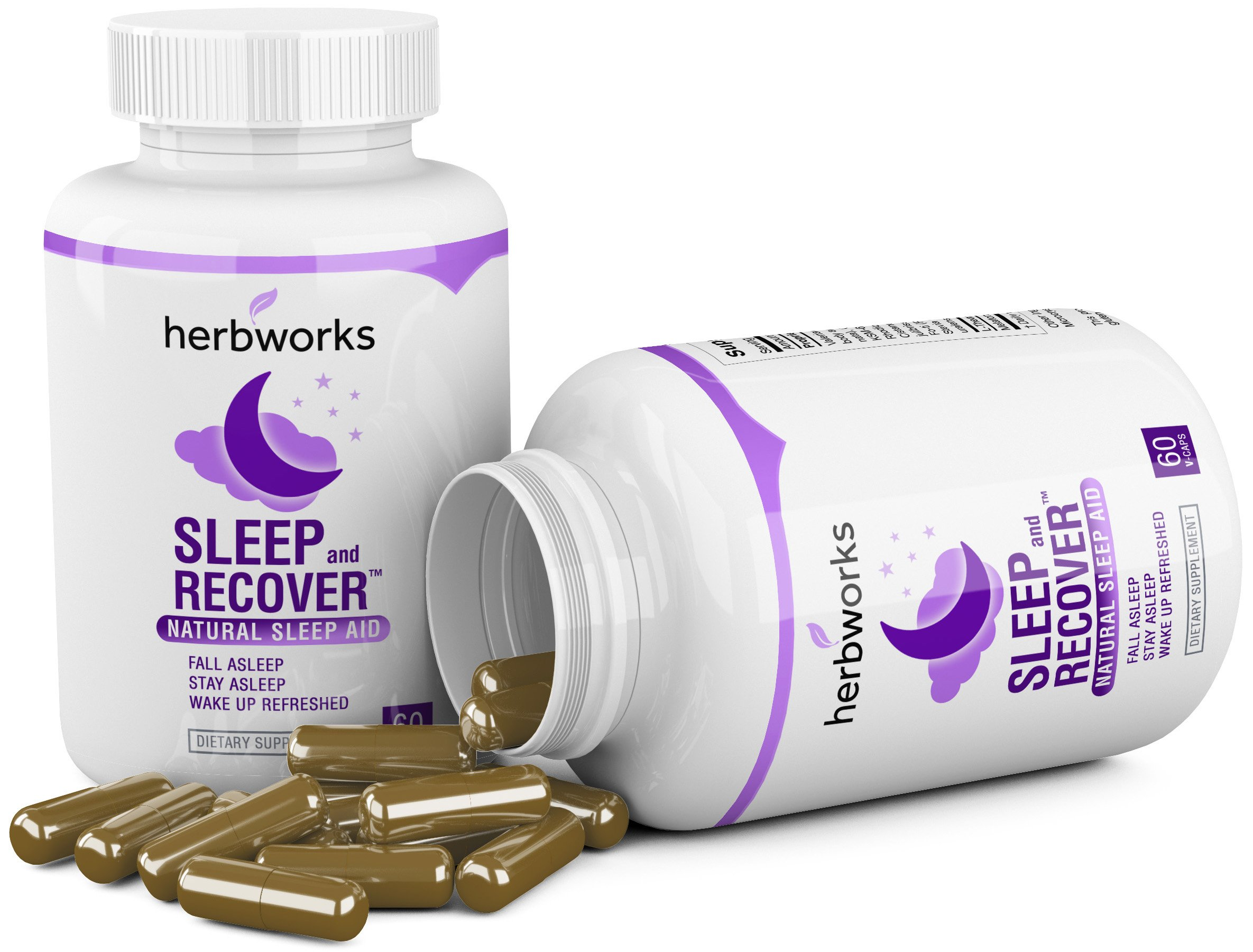 Sleep and Recover - Natural Sleep Aid - Non Habit Forming - 60 V-Capsules by HerbWorks (Image #2)