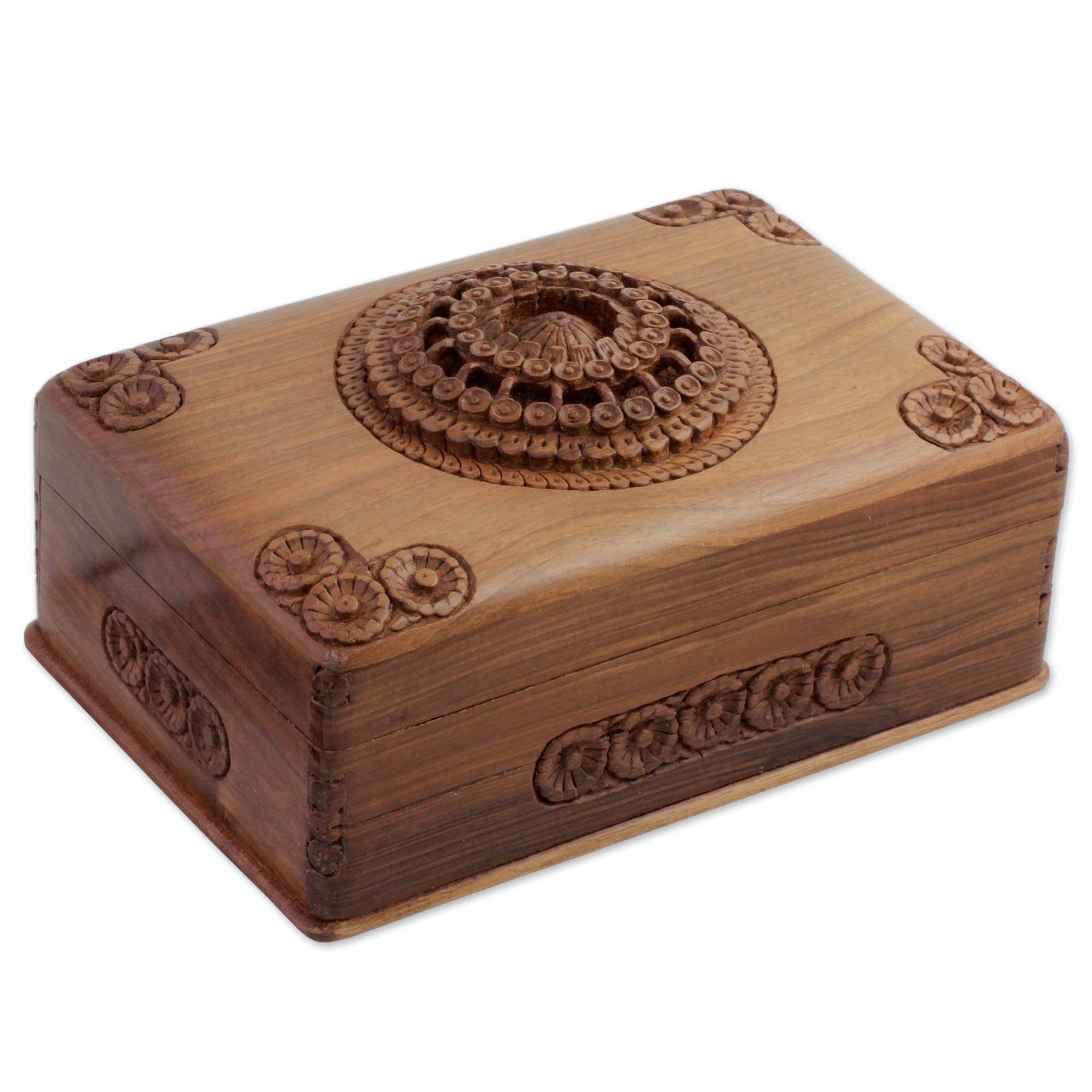NOVICA Floral Wood Jewelry Box, Brown, 'Majestic Allure'