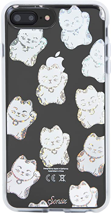 Sonix Disco Kitty (Iridescent Rainbow cat) Cell Phone Case [Military Drop Test Certified] Protective Clear Series for Apple 6+, 6s+, 7+, 8+