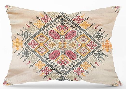 Moroccanity Funda de cojín con diseño de salón marroquí con Textura de Seda Jacquard con patrón geométrico de Azulejos Bordados, 70 x 50 cm, Beige ...