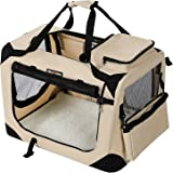 FEANDREA Lightweight Fabric Pet Carrier Crate with Mat Food Bag Portable Dog Carrier Folding Pet Cage Beige M 60 x 40 x 40 cm PDC60W