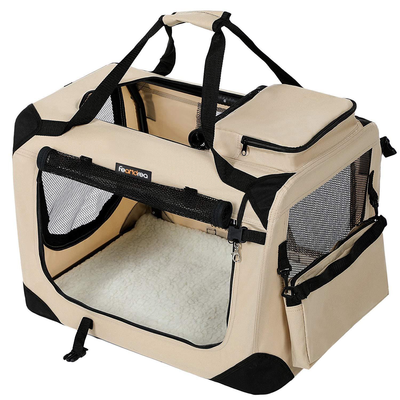 FEANDREA Bolsa de Transporte para Mascotas Transportín Plegable para Perro Portador Tela Oxford Beige S 50