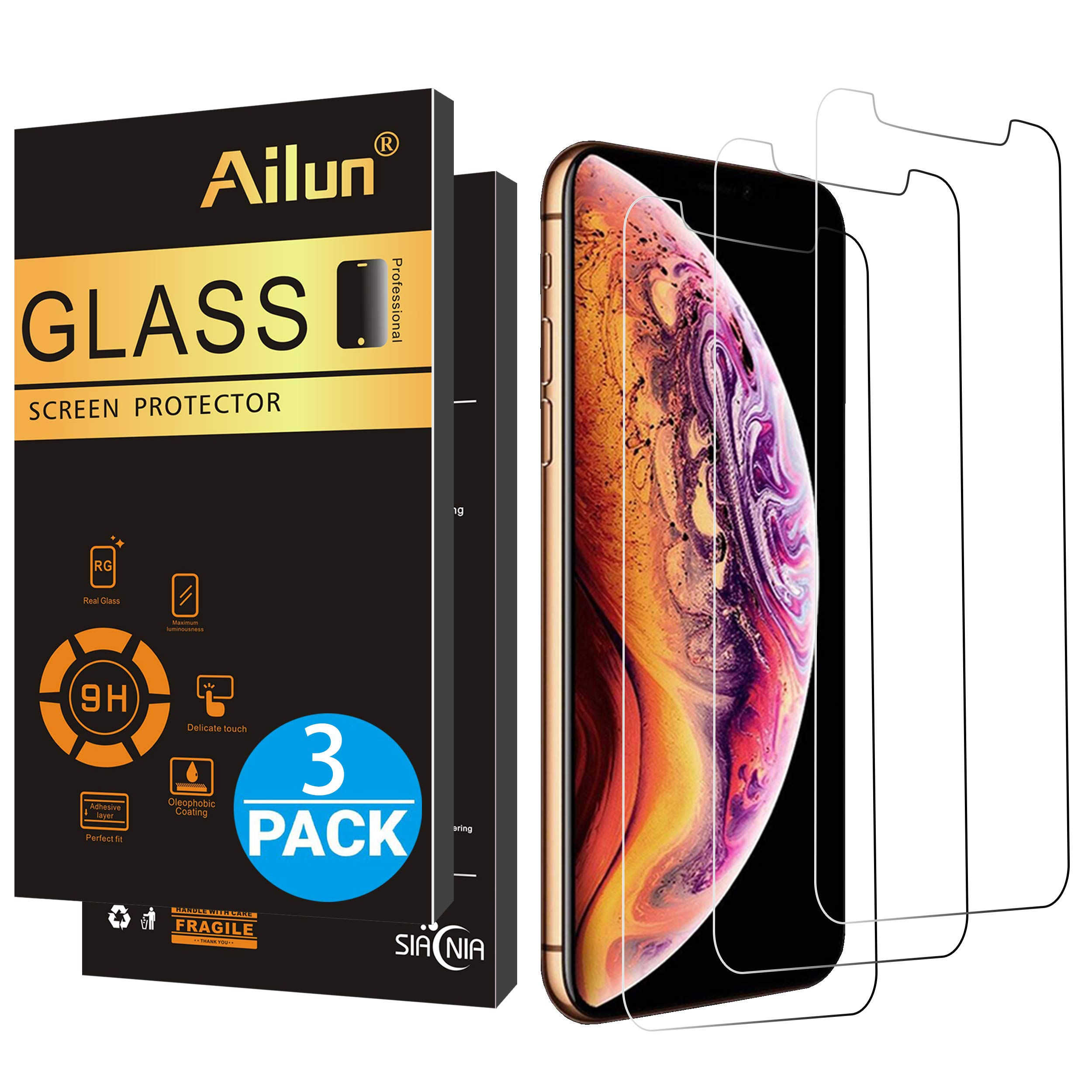 AILUN Compatible with Apple iPhone Xs Max Screen Protector[3 Pack](6.5 inch 2018 Release) Tempered Glass 0.33mm Anti-Scratch,Advanced HD Clarity Work with Most Case