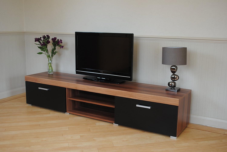 display units for living room sydney. 2 metre black \u0026 walnut sydney door tv cabinet extra large unit: amazon.co.uk: kitchen home display units for living room