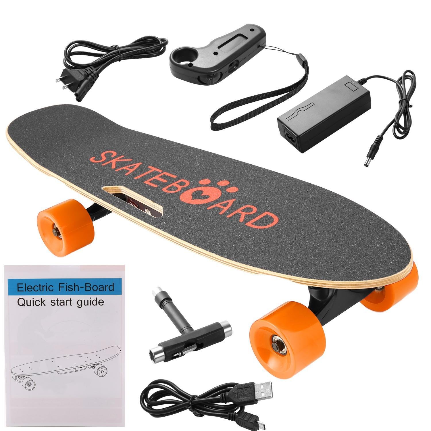 Kaluo 28in Electric Complete Skateboard with Bluetooth Speaker, Lithium Battery Wireless Remote Controlled Skateboard, Orange Black Red Green Wheels (US STOCK) (Orange Wheel)