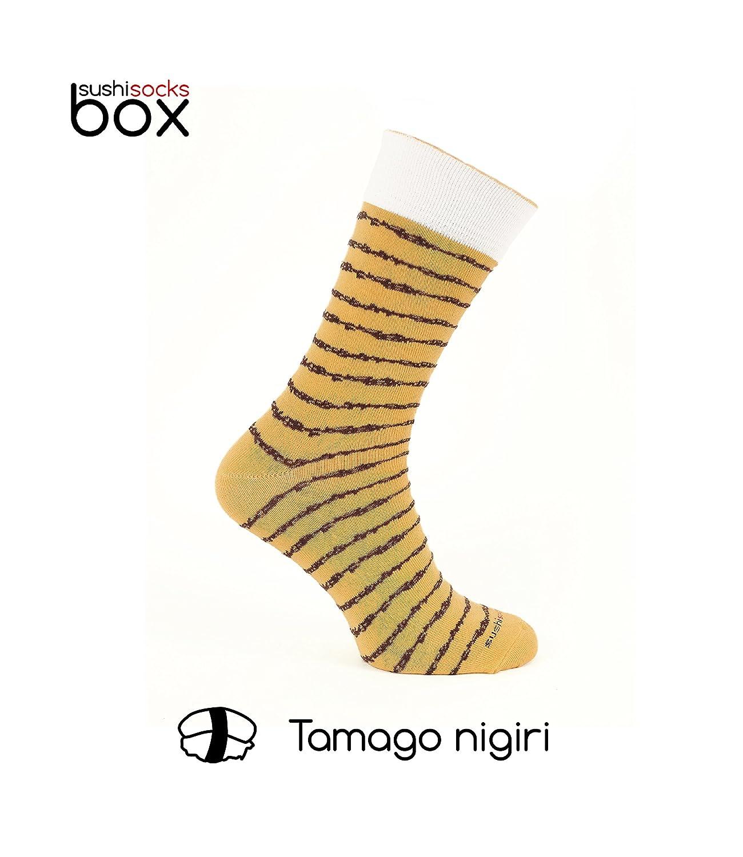 Sushi Socks Box - 1 par de CALCETINES: Nigiri Tamago - REGALO DIVERTIDO, Idea Original, Algodón de alta Calidad|Tamaños 41-46, Certificado de OEKO-TEX, ...