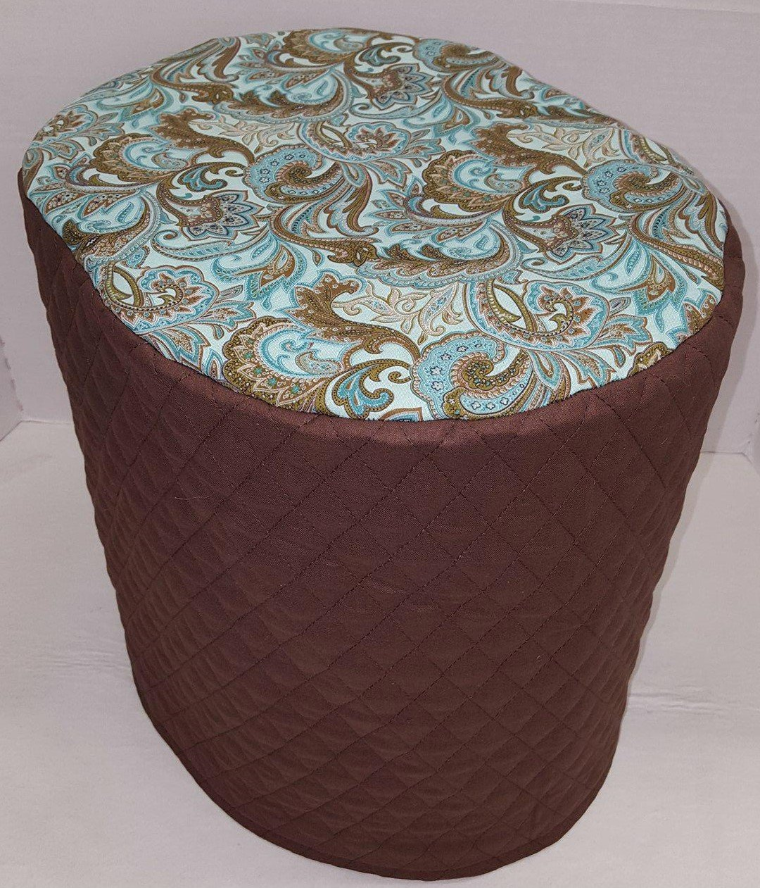 Brown & Teal Paisley Food Processor Cover (Chocolate Brown, Large)