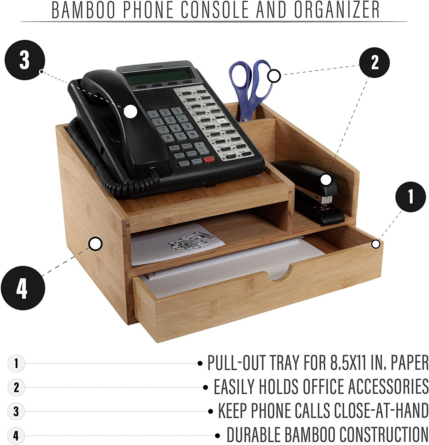 Prosumers Choice Bamboo Office Telephone Stand and Desk Organizer with Pull-Out Paper Tray