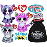 "TY Beanie Boos ""Cats"" Sophie, Lindi & Kiki Gift Set Bundle with Bonus ""Matty's Toy Stop"" Storage Bag - 3 Pack"