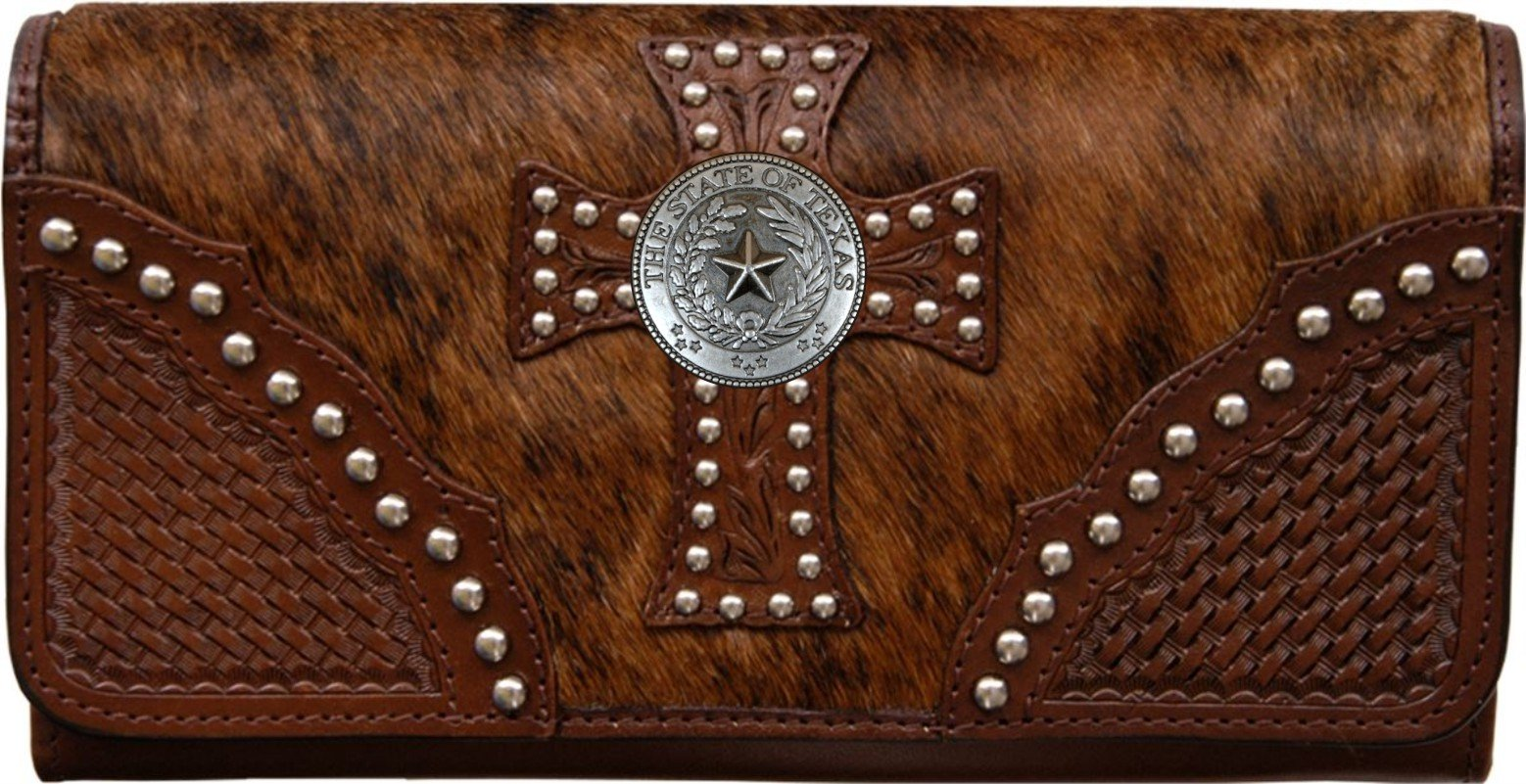 Custom Pewter Texas Seal Natural Hair Christian Clutch Wallet with removable checkbook