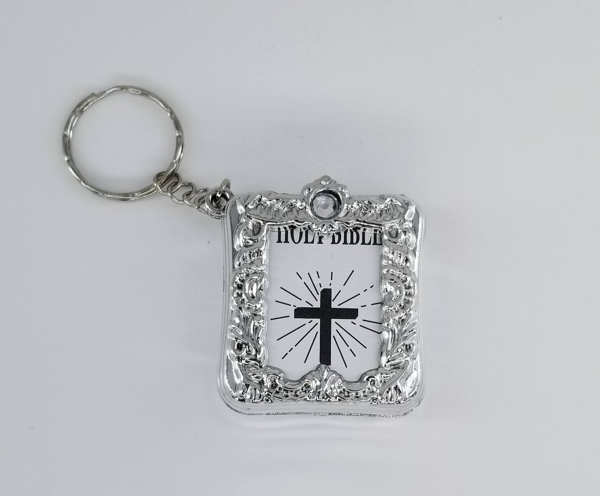 24X Mini English Sliver Holy Bible keychains Religious Favor baptism Christian Jesus Cross