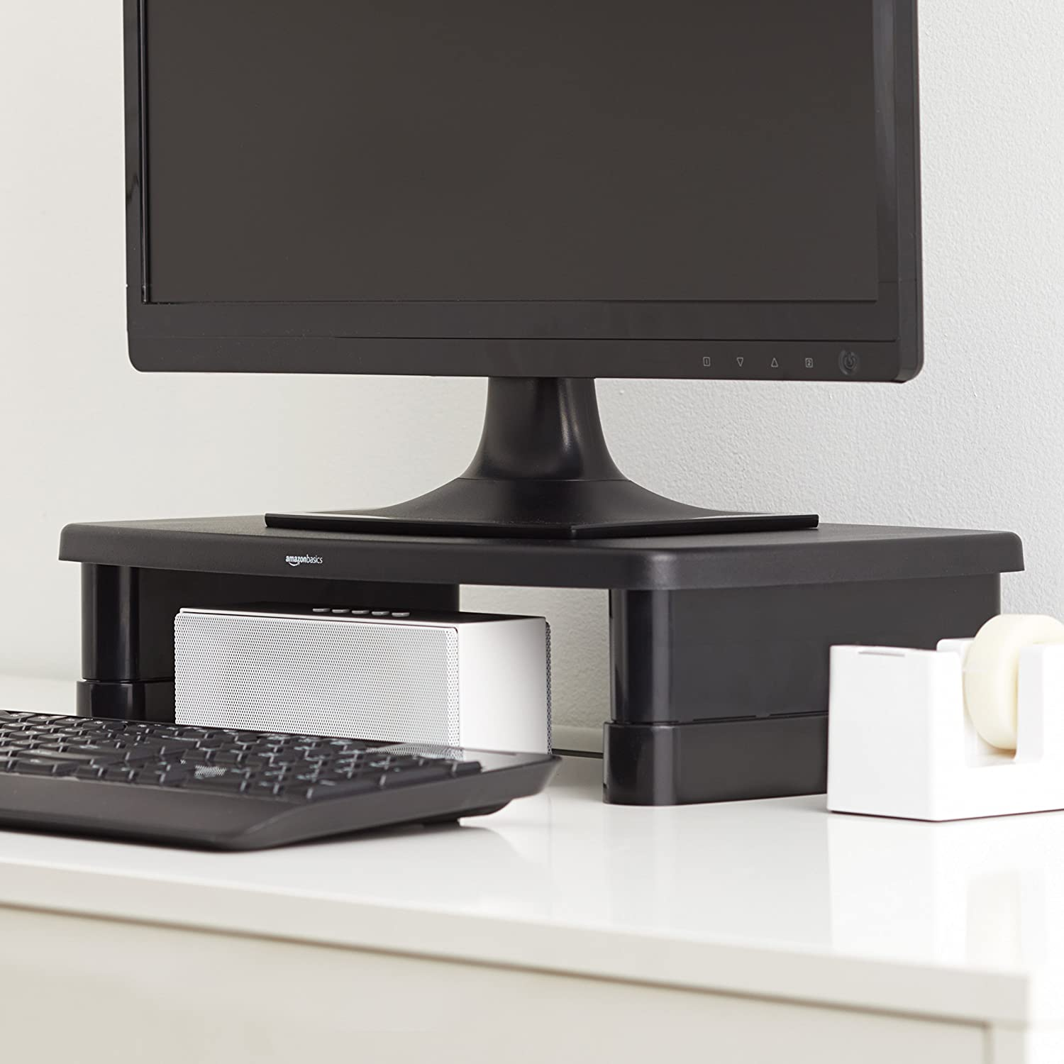 Basics Adjustable Monitor Stand /& Computer Speakers for Desktop or Laptop AC-Powered