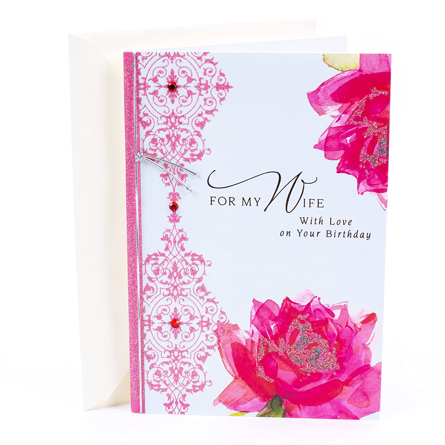 Amazon Hallmark Birthday Card For Wife Roses With Pattern Office Products