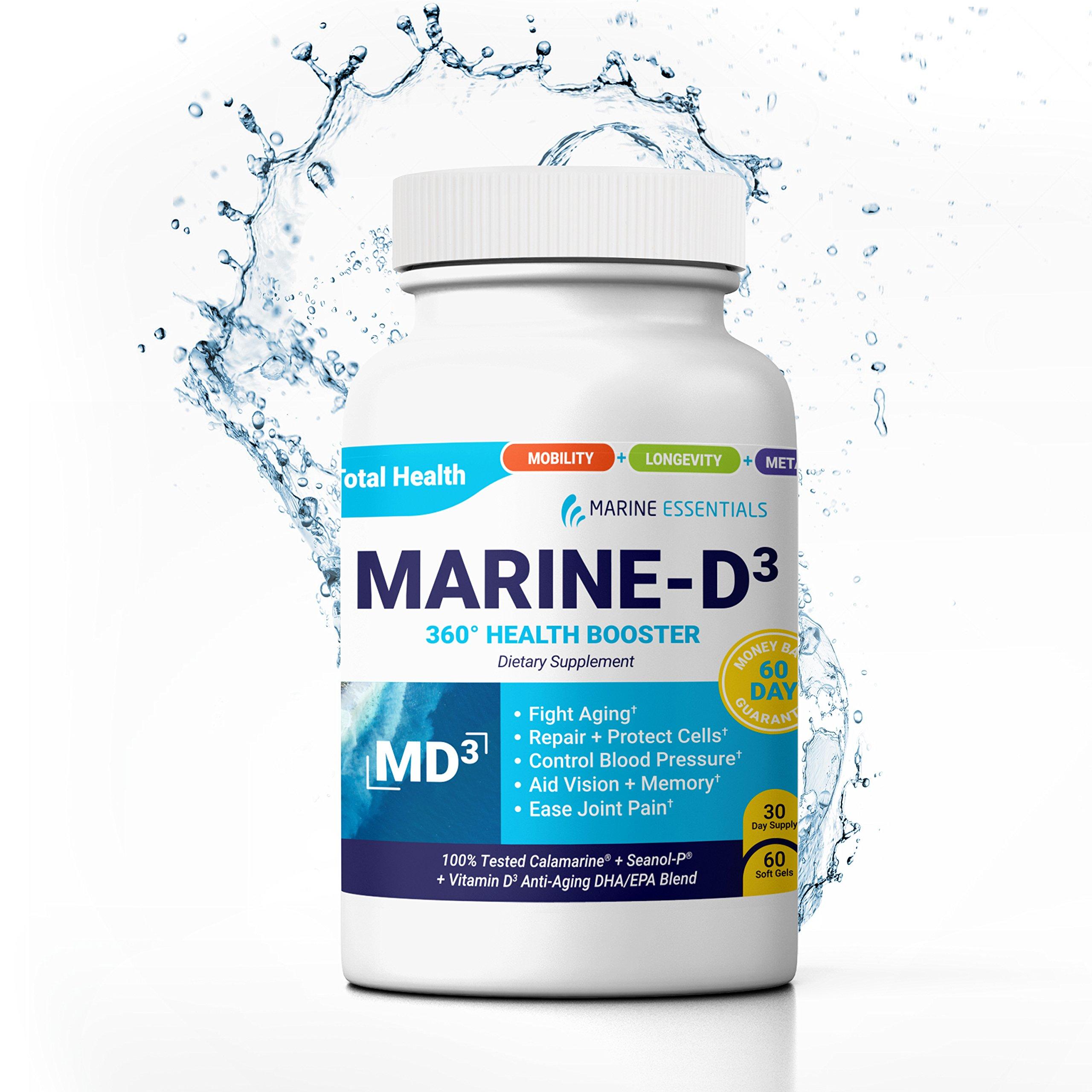 Marine Essentials Vitamin D3 Omega 3 Fish Oil - ''Marine-D3'' 340 mg Vitamin D3 DHA Anti Aging Omega 3 Fish Oil Dietary Supplement (60 Softgels) by Marine Essentials