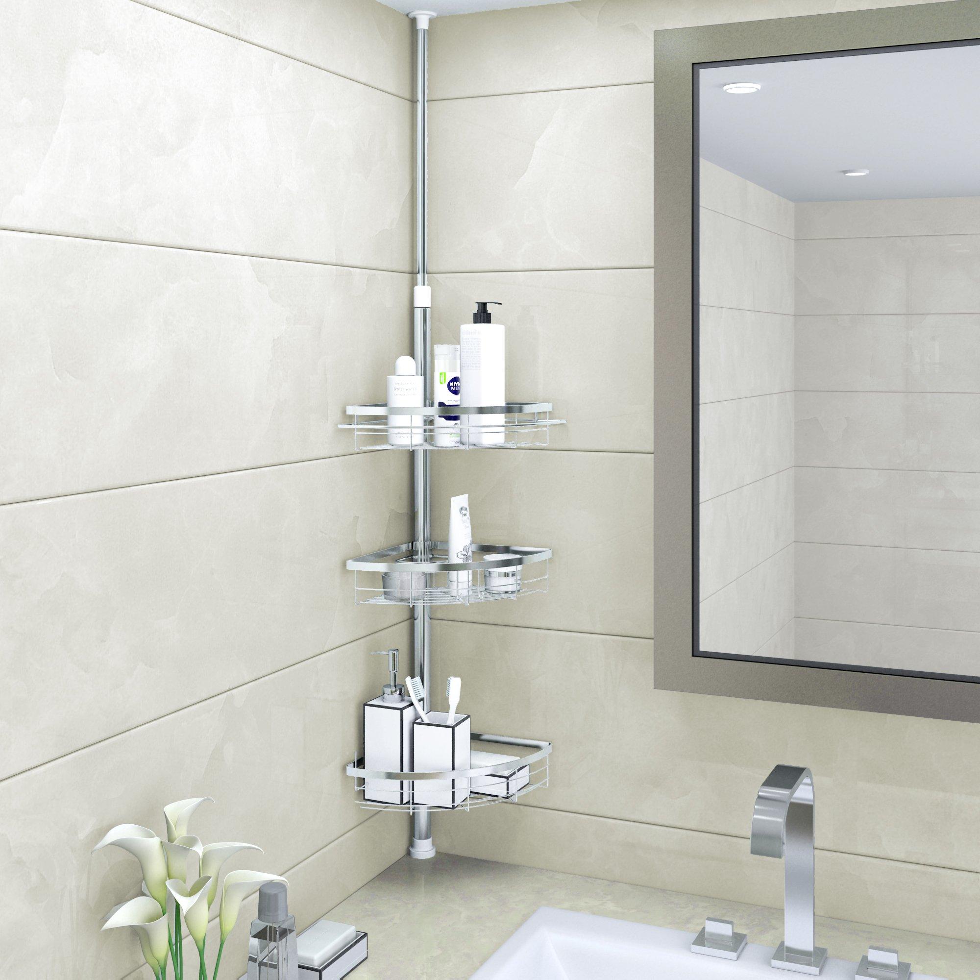 Lifewit Corner Shower Caddy 3 Tier Adjustable Bathroom Constant ...