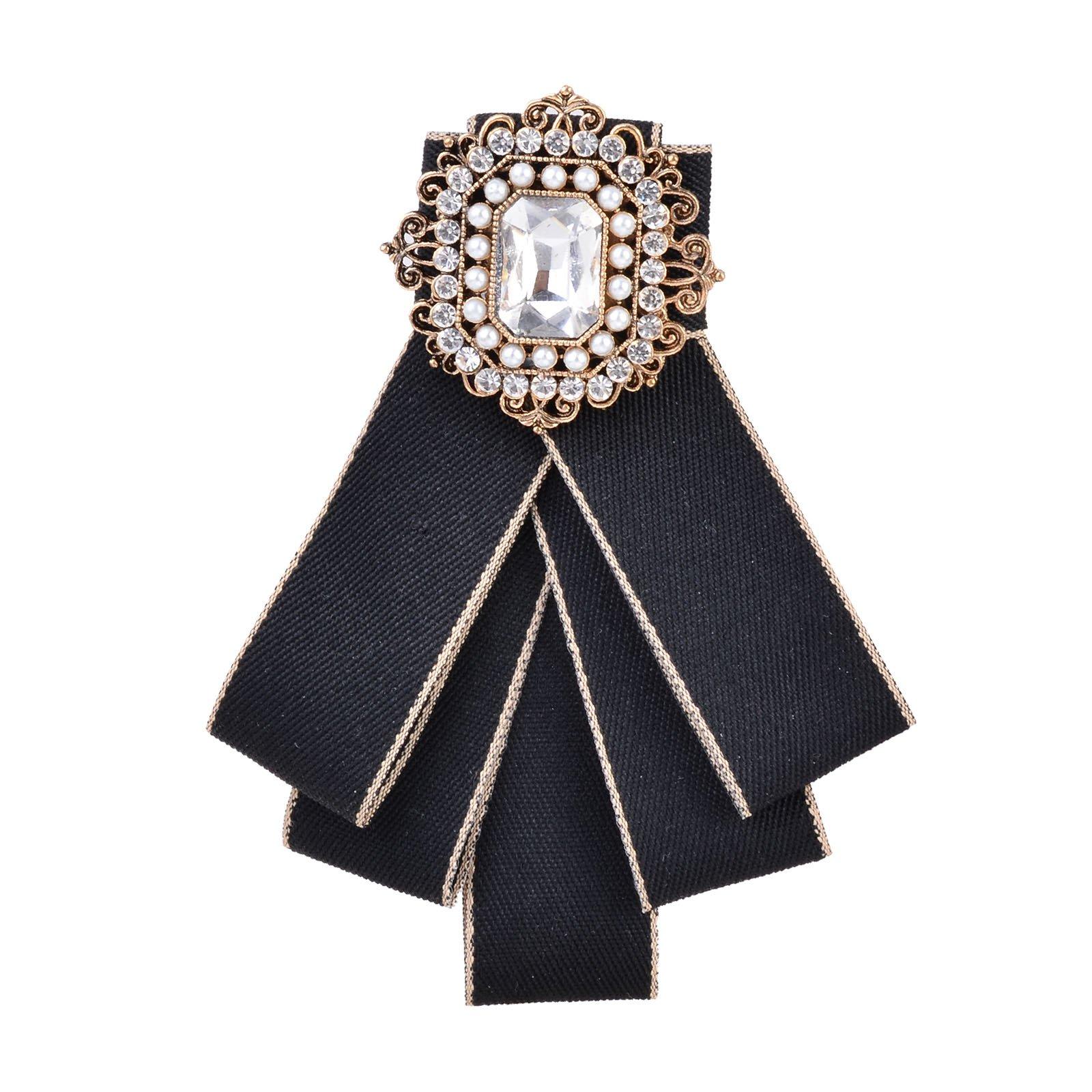 OBONNIE Neck Bow Tie Pin Brooch Classic Bowknot Necktie Jabot Collar Neck Tie Cravat Suit Accessory (Black)