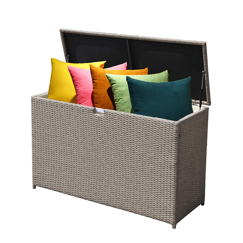 Patiorama Outdoor Storage Box Patio Aluminum Frame Wicker Cushion Storage Bin Deck Box Warm Grey