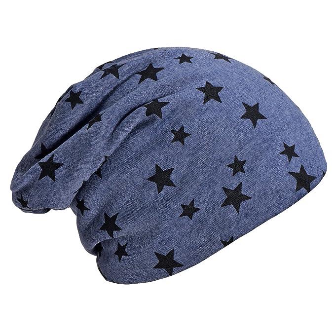 a3b59c7836ce0f DonDon Damen Slouch Winter Mütze Beanie gefüttert mit Stern Print blau