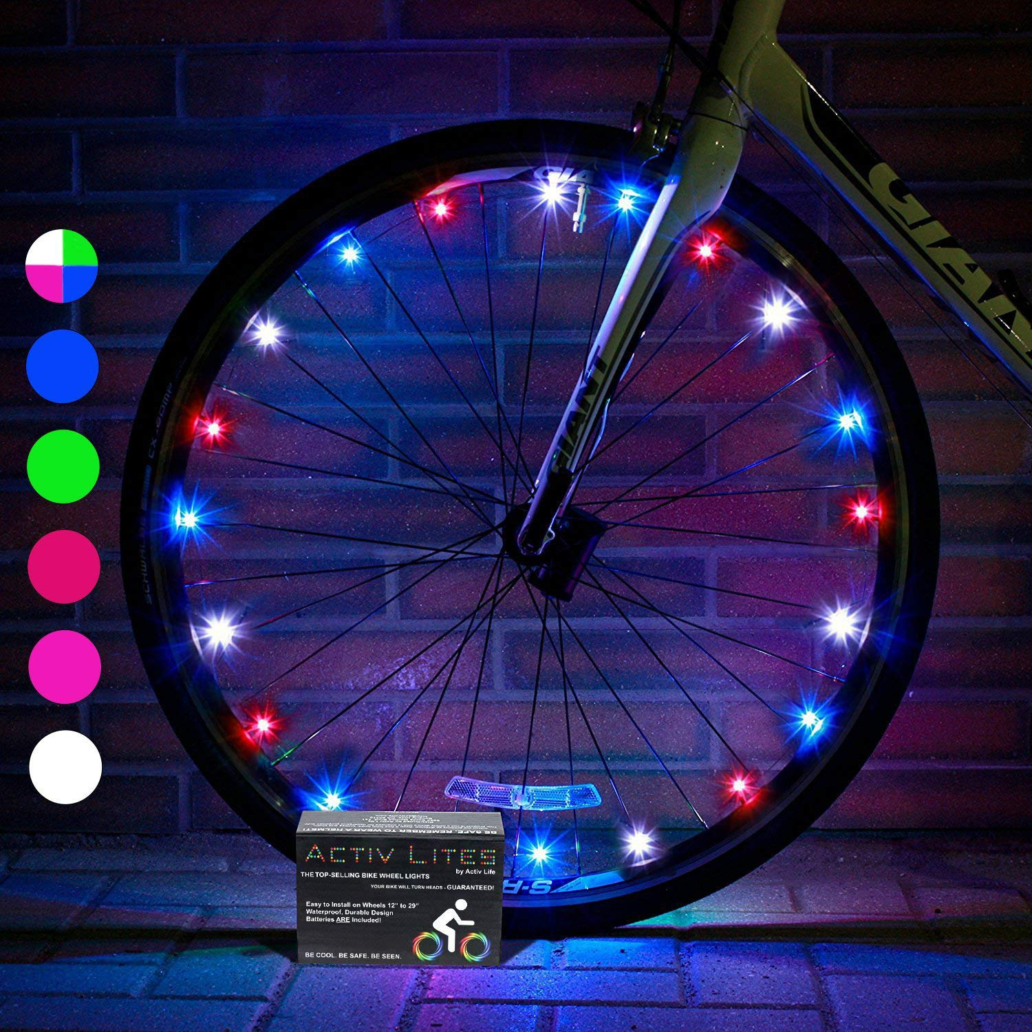 Activ Life Bike Lights (1 Wheel, Red, White & Blue) Best Fitness Gifts for Grand Son Grand Daughter Niece Nephew Sports Presents - Top Xmas 2018 Cool and Fun Ideas for Women & Men Who Have Everything