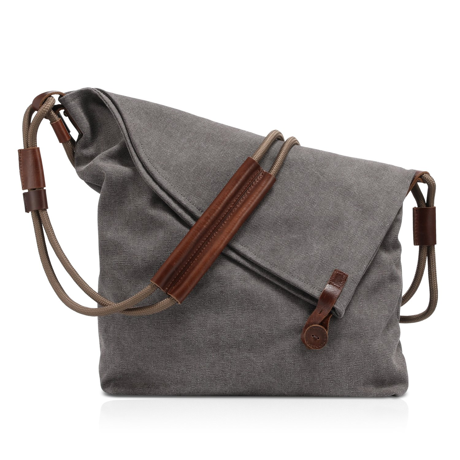 Plambag Canvas Crossbody Shoulder Bag Leather Trim Hobo Purse Messenger Bag Grey PB115GY-US