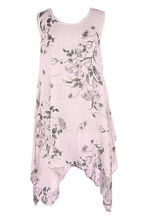 921bb2e10b TEXTURE Ladies Womens Lagenlook Italian Sleeveless Floral Textured Cotton  Asymmetric Midi Dress One Size (Light Pink