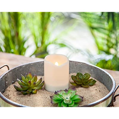 Outdoor Solar Flameless Candle Weatherproof White Resin Flickering Amber Flame (3x4): Home Improvement