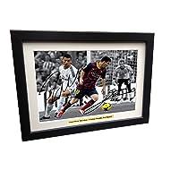 kicks Fotografía firmada 12 x 8 Negro de fútbol Messi Barcelona Cristiano Ronaldo Real Madrid autógrafo Marco de Fotos de fútbol A4