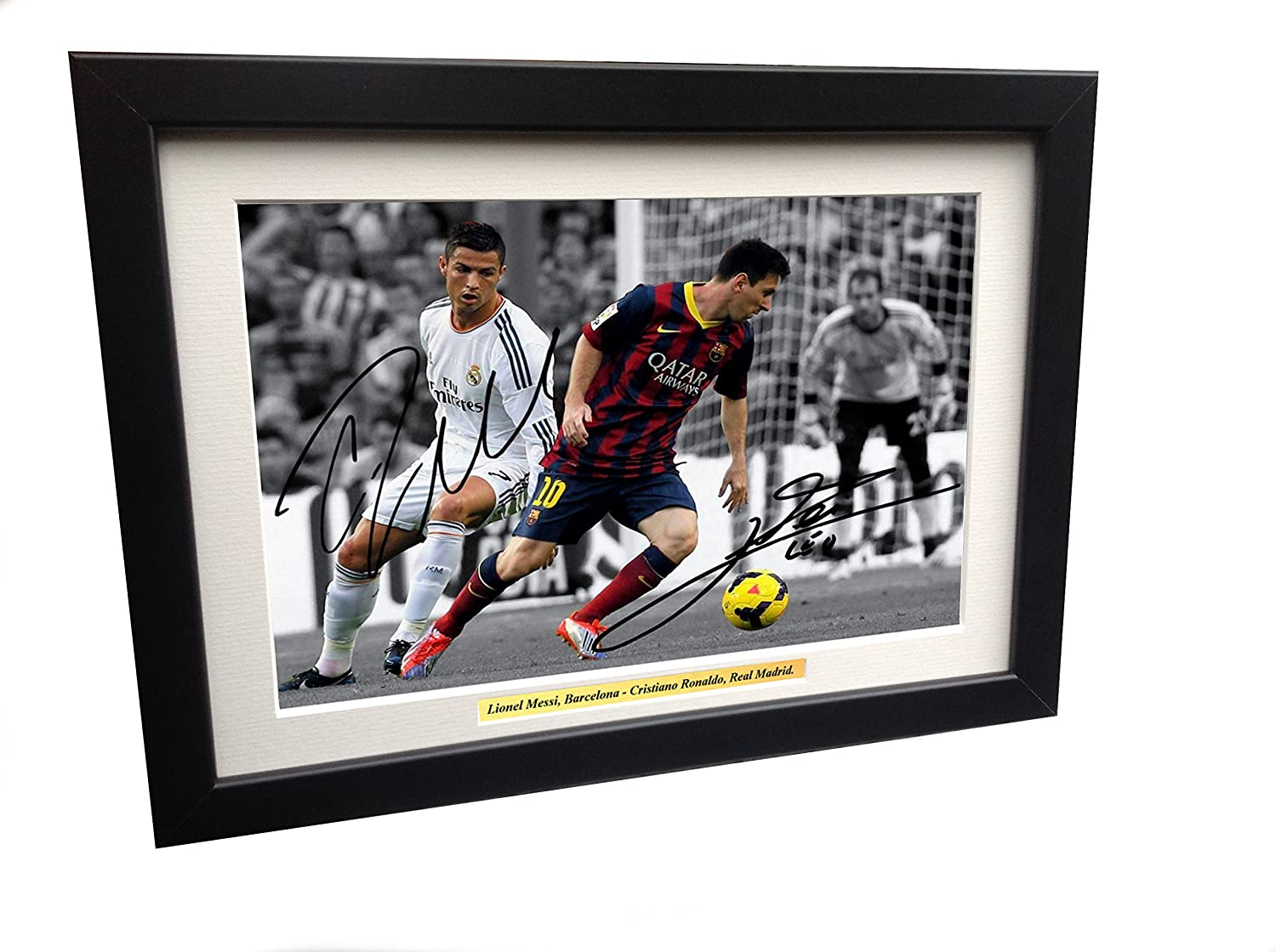 Signed 12x8 Black Soccer Lional Messi Barcelona Cristiano Ronaldo Real Madrid Autographed Photo Photograph Football Picture Frame Gift A4 kicks