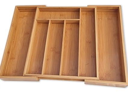 DRYZEM Bandeja para cubiertos ajustable, bambú, resistente y ecológico