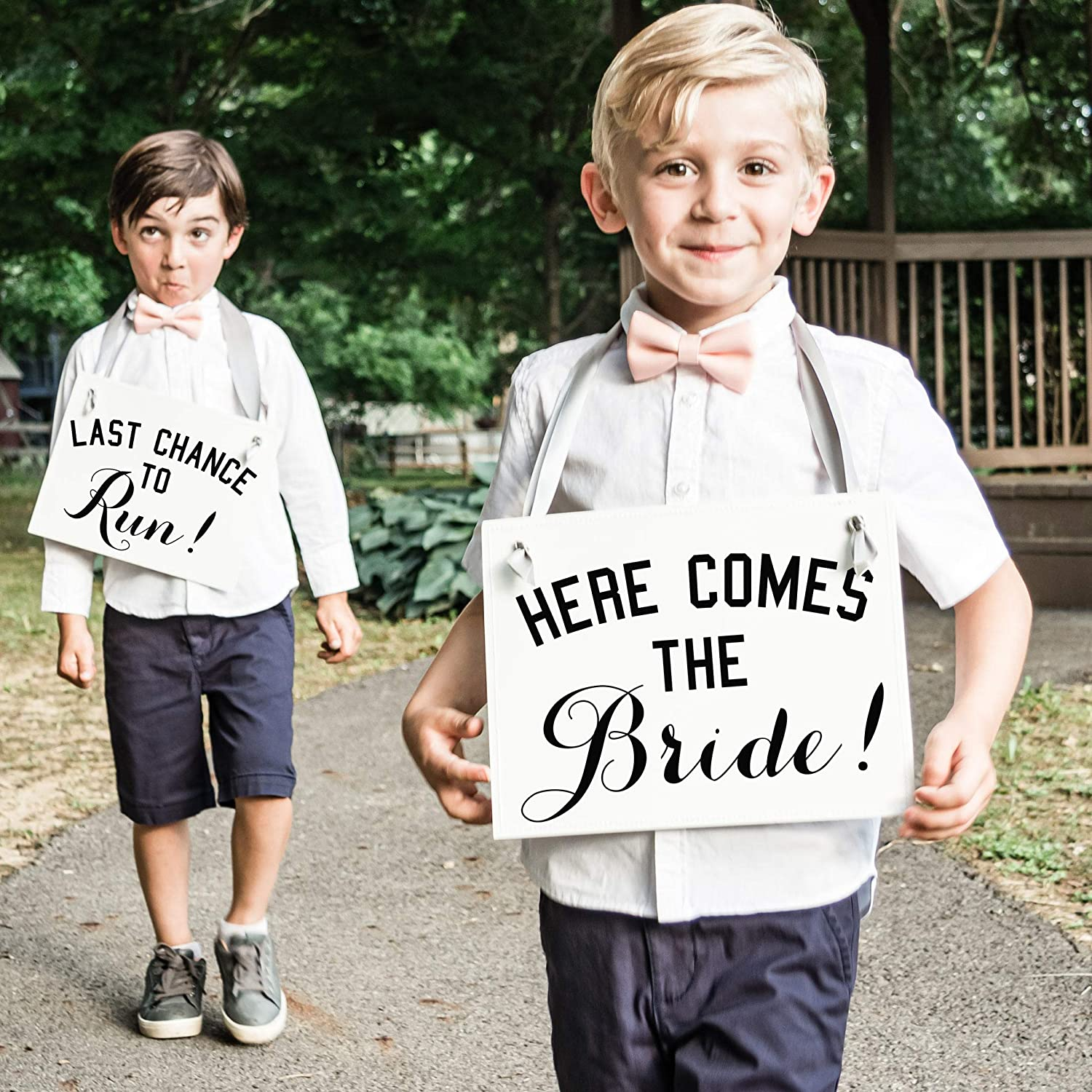 Last Chance To Run Set of 2 Ring Bearer Signs Flower Girl Banners for Wedding Ceremony Here Comes the Bride Sign