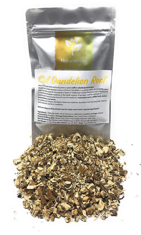 Dandelion Root - Dried, Cut Dandelion Root - Great Coffee Substitute Beverage - Enjoyed As Tea - Ingredients: 100% Dandelion Root (Taraxacum Officinale) - Net Weight: 2.11oz / 60g