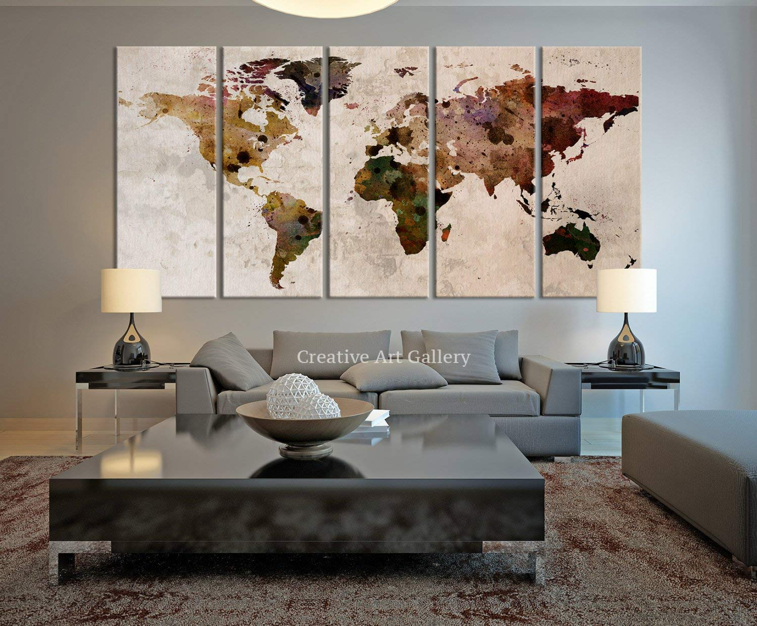 Funy decor large canvas print rustic world map large wall art extra large vintage world map print for home and office wall decoration 60x32 inch total