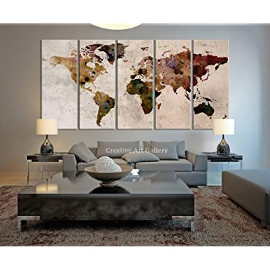 Funy Decor Large Canvas Print Rustic World Map, Large Wall Art, Extra Large Vintage World Map Print for Home and Office Wall Decoration - 60x32 Inch Total