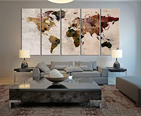 Map Art - Large Canvas Print Rustic World Map, Large Wall Art, Extra ...