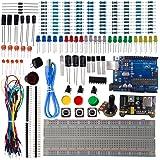DSD TECH UNO R3 Board Starter Kit für Arduino UNO Projekt mit Widerstand Kondensator LED Dioden Transistor und Dupont Kabel