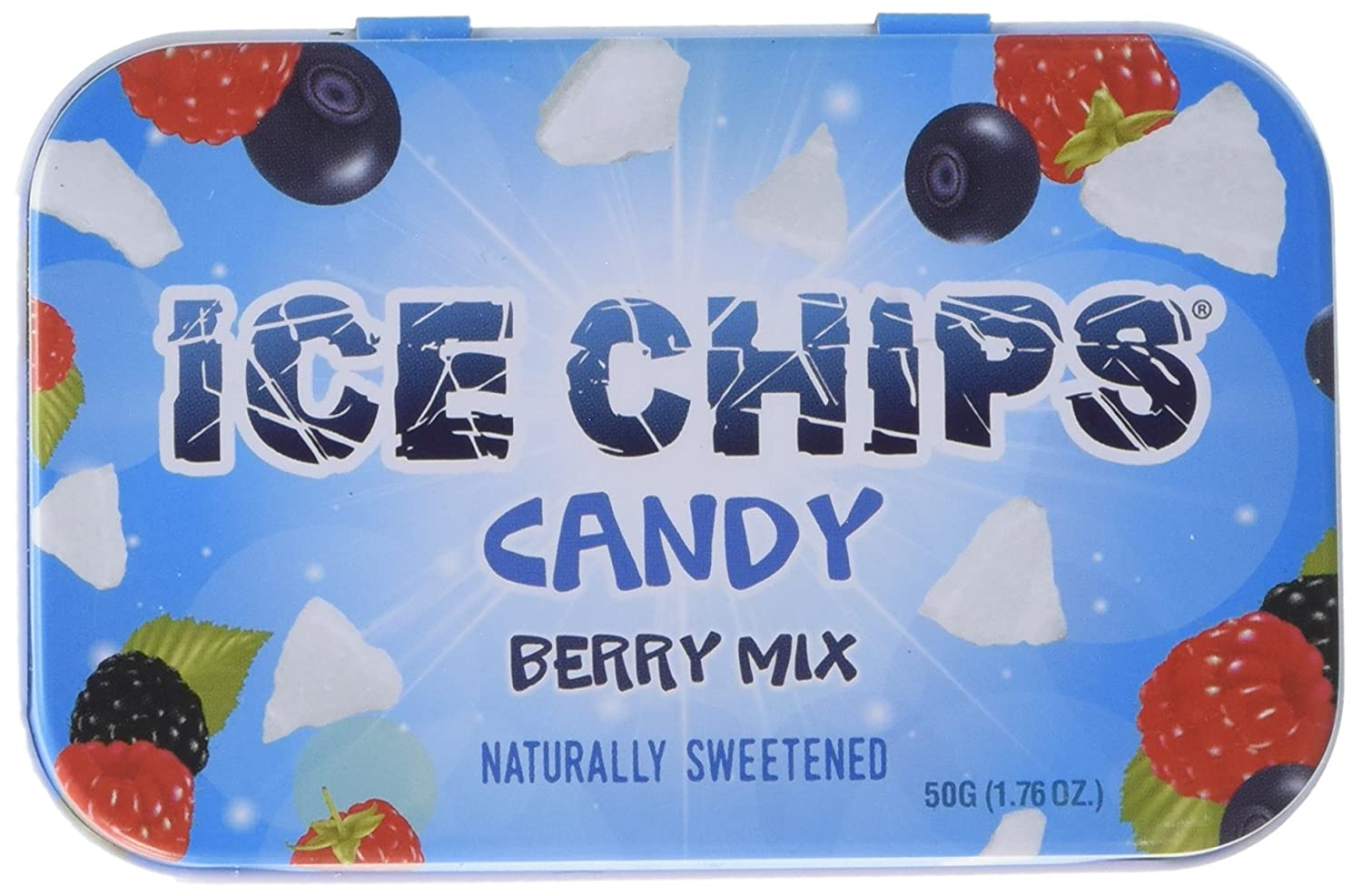 ICE CHIPS Candy Hand Crafted Tin Juicy Berry Mix Candy, 1.76 Ounce