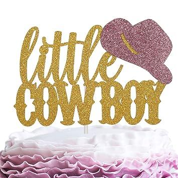 Little Cowboy Birthday Cake Topper - Gold Glitter Cowboy Hat Cake Décor - Baby Shower Boys Birthday...