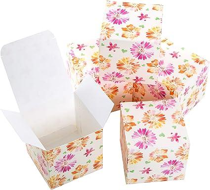 Logbuch-Verlag Caja de cartón pequeña rosa naranja flores corazón cubos caja 7 x 7 cm para rellenar joyero regalo para invitados caja de regalo plegable embalaje DIY 25 Stück: Amazon.es: Oficina y