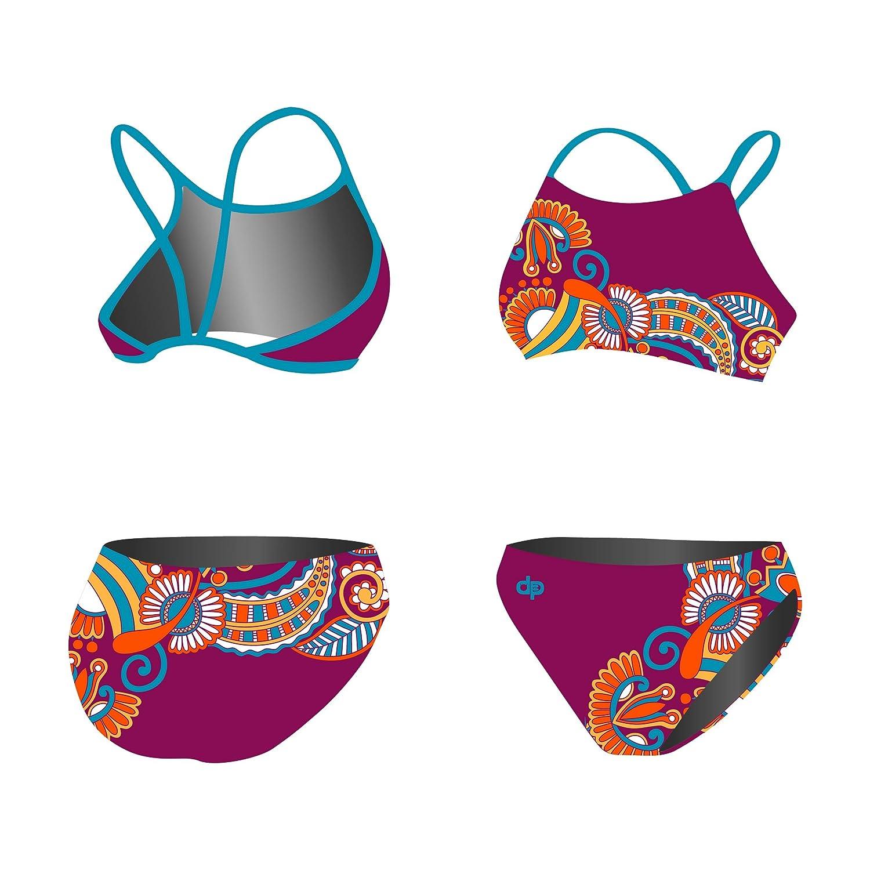 Diapolo Floral Purple Sport-Bikini Zweiteiler Flowers Kollektion für Schwimmen Synchronschwimmen Wasserball Thriathlon