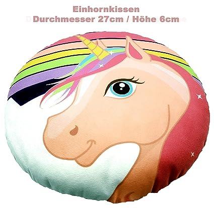 Einhorn Kinder Deko Kissen Rund 27cm