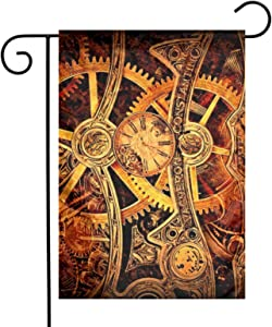 Cool Steampunk Gears Garden Flags Home Indoor & Outdoor Welcome Decorations,Waterproof Polyester Yard Decorative for Game Family Party Banner