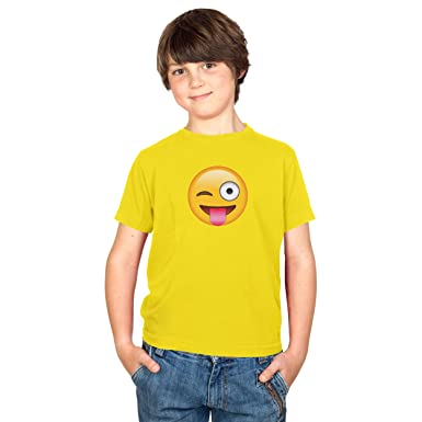 TEXLAB - Tongue out Emoji - Kinder T-Shirt, Größe XS, gelb