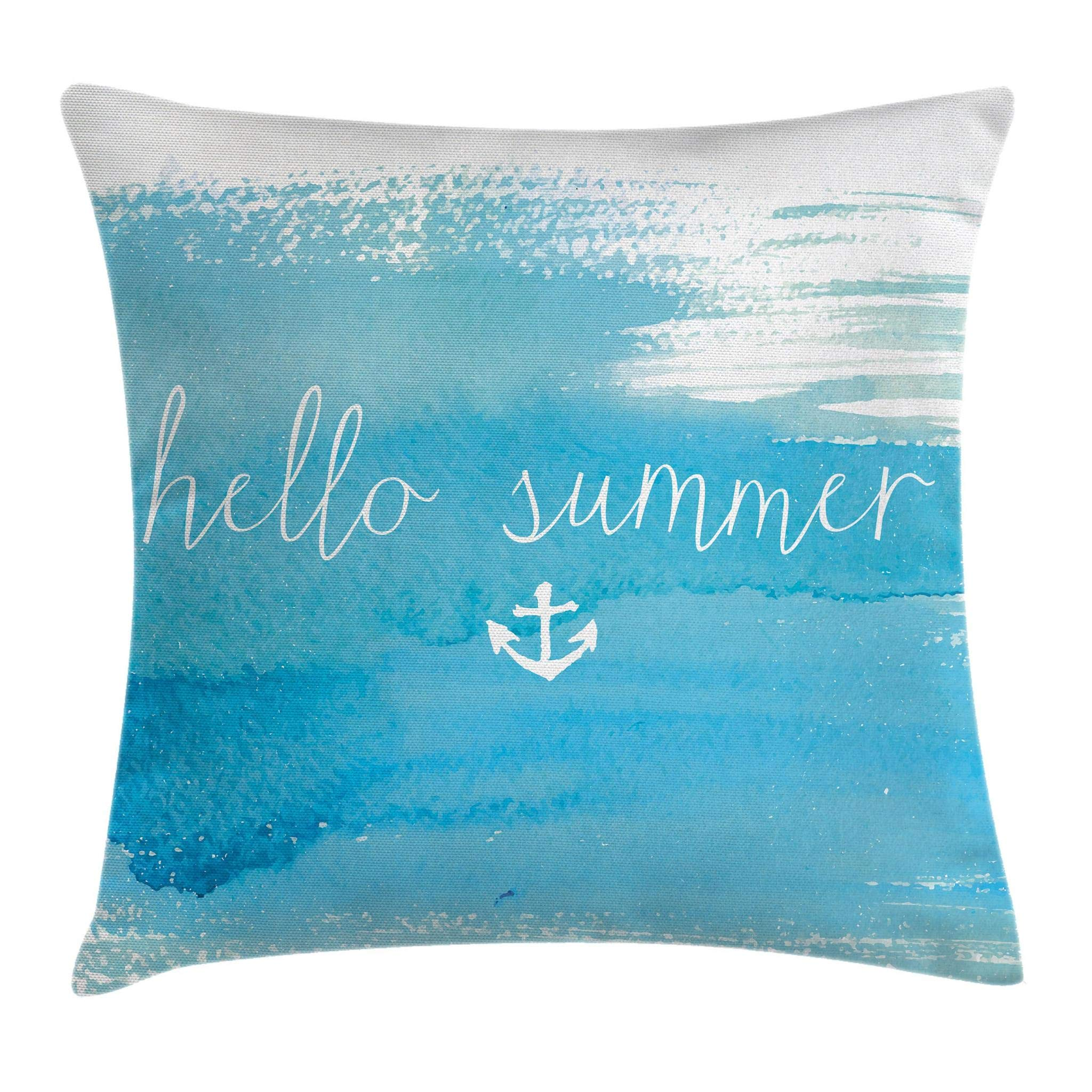Ambesonne Nautical Decor Throw Pillow Cushion Cover by, Watercolor Paintbrush Backdrop with Hello Summer Quote and Anchor Print, Decorative Square Accent Pillow Case, 18 X 18 Inches, Aqua White